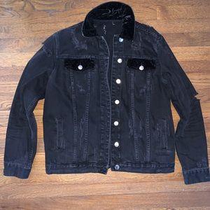 Distressed Style Denim Velvet Jacket